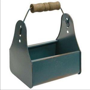 Vintage-style Blue Mini Toolbox with Wood Handle